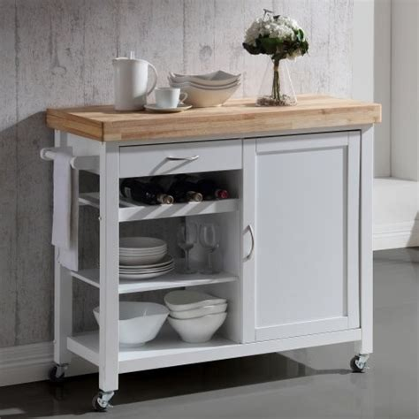 denver white kitchen island with solid butcher block top