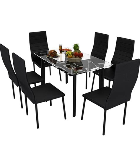 six dining set bright six seater dining set in black colour by housefull by housefull dining sets