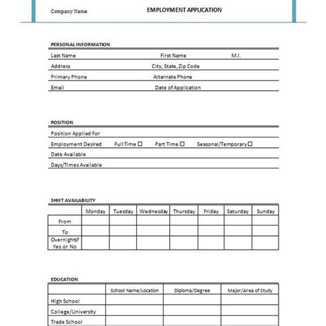 Free Printable Job Application Form Template Form Generic Employment Application Form Template