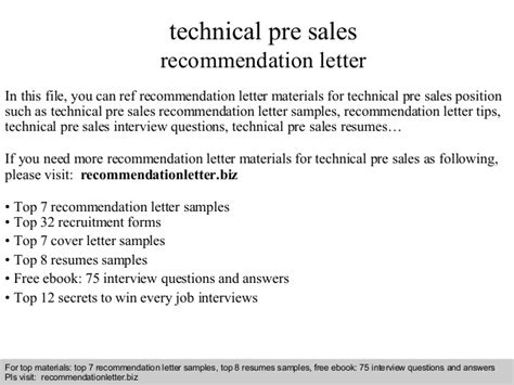 Recommendation Letter For Technical Technical Pre Sales Recommendation Letter
