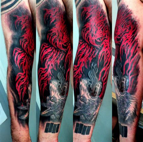 unique forearm tattoos unique flames on arm