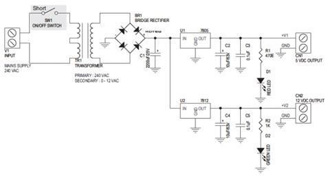 5v 12v power supply circuit diagram 12v 5v output regulated dc power supply with on