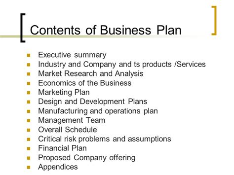 business plan contents template business plan format and contents ppt
