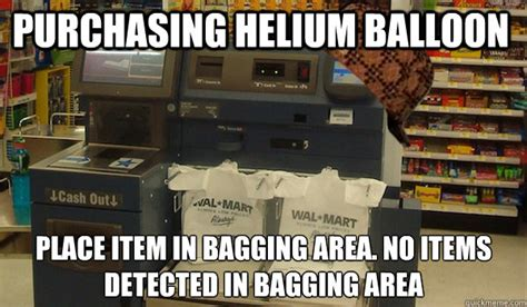 Self Checkout Meme - please place item in the bagging area unexpected item in