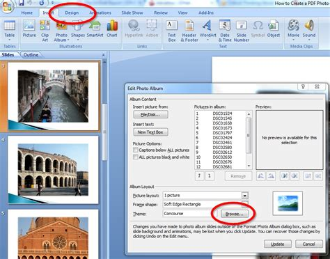 powerpoint photo album layout how to create a pdf photo album in microsoft powerpoint