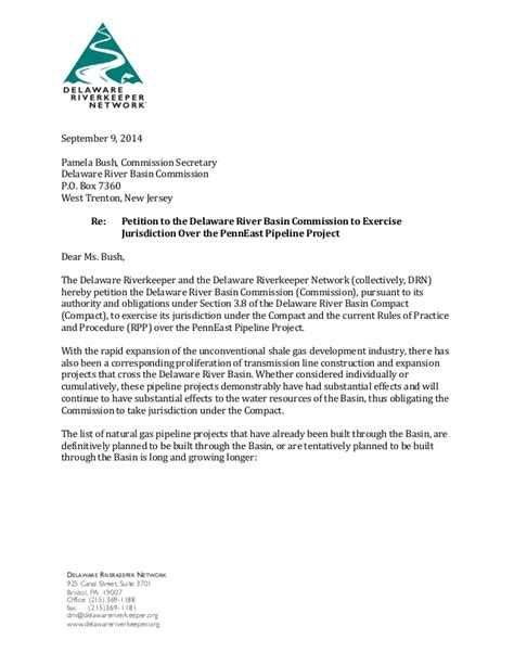 Request Letter To Commissioner Delaware Riverkeeper Letter To Drbc Requesting Intervention To Stop P