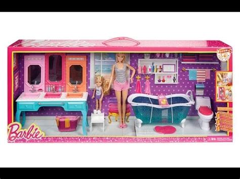 barbie glam bathroom barbie and chelsea glam bathroom set youtube