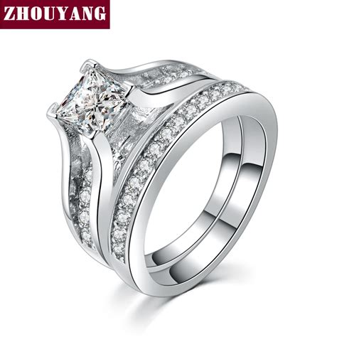 silver color 0 5ct cubic zirconia studded rings fashion