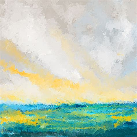 yellow and turquoise garden painting by lourry legarde turquoise and yellow art by lourry legarde