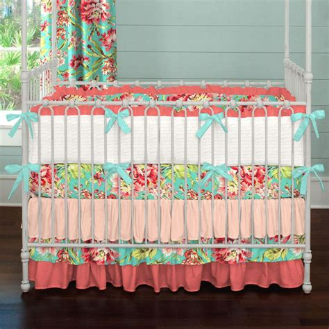 coral crib bedding coral and teal floral crib bedding girl baby bedding