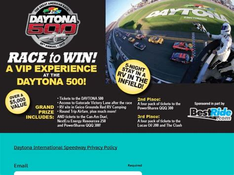 Daytona 500 Sweepstakes - daytona 500 prize package giveaway sweepstakes