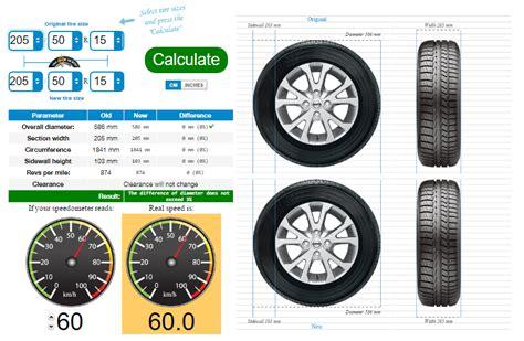 Size Car Comparison by Tire Size Calculator Compare Tires