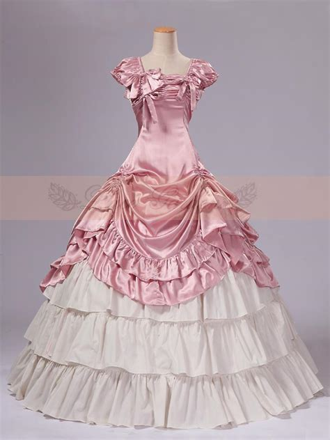 pink  white satin classic victorian dress top sale long