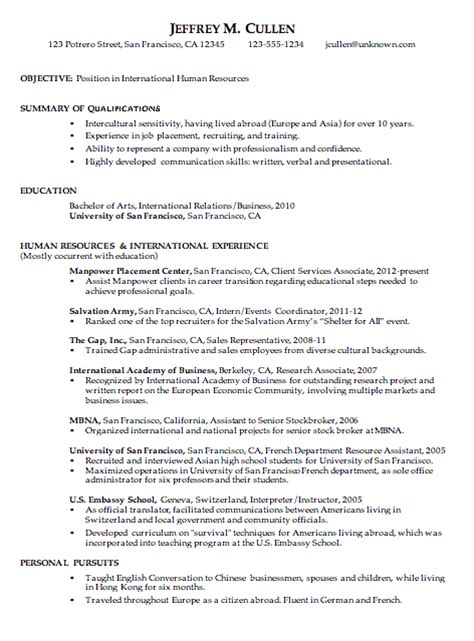 Chronological Resume Examples Samples chronological resume sample international human resources