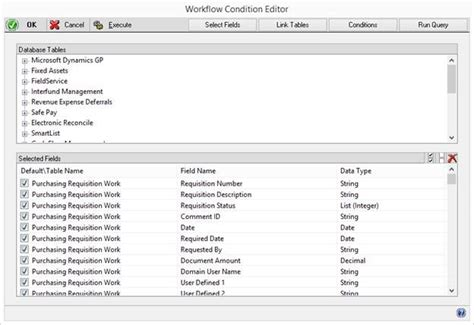 workflow tables joining in additional tables for workflow conditions