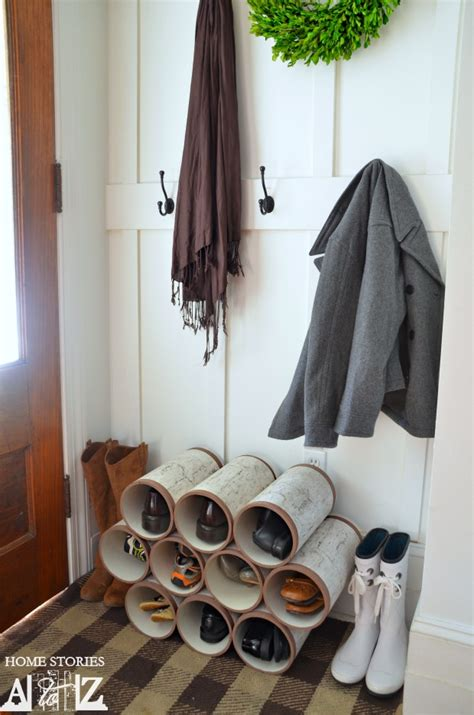 diy shoe rack by front door pvc pipe shoe organizer how to home stories a to z