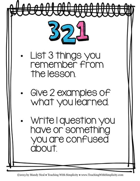 themes educational assessment free poster download the 3 2 1 strategy is one exle of