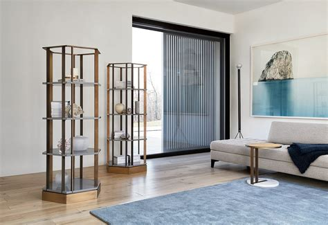 Gold Bookcase Ralf Low Table Meridiani