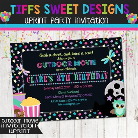 backyard movie night invitations under the stars outdoor movie party girl movie birthday