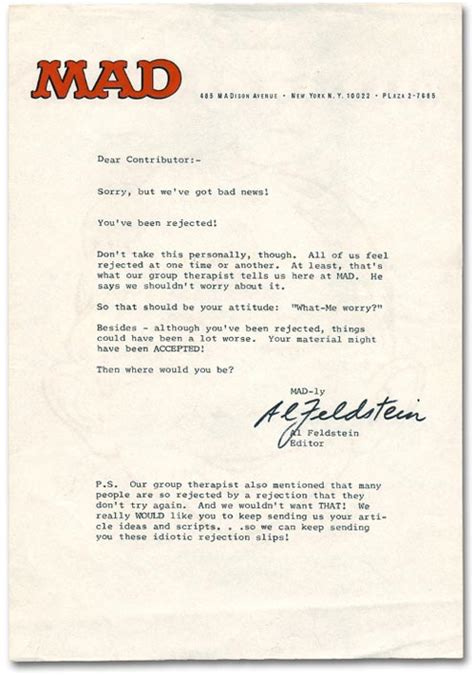 Rejection Letter Editor Comic Riffs Best Rejection Letters Exhibit A Mad Magazine