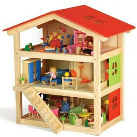 Pintoy Wooden Dolls House Including Pintoy Dolls Furniture For Sale In Carrickmines