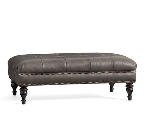 Tufted Leather Ottoman by Martin Tufted Leather Ottoman Pottery Barn