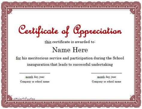 template volunteer appreciation certificate template