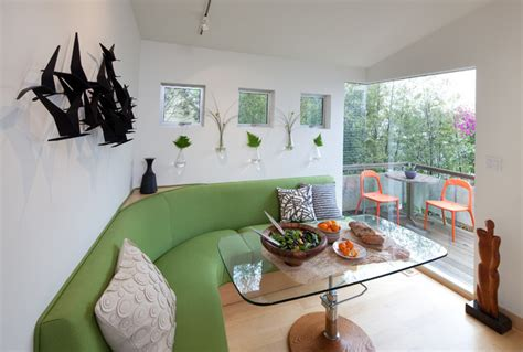 tiny house seating tiny house flexible use dining and entry area by kimball starr interior contemporary dining
