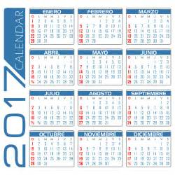 Calendario En Blanco 2017 Clipart Calendario 2017 Espa 241 Ol Blanco Y Azul