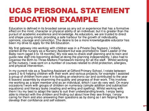 ucas personal statement education exle
