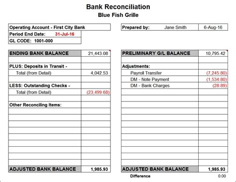 bank statement reconciliation form free best free