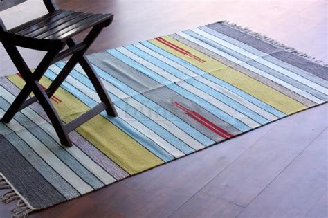 multi color cotton dhurrie striped area rug style 1252