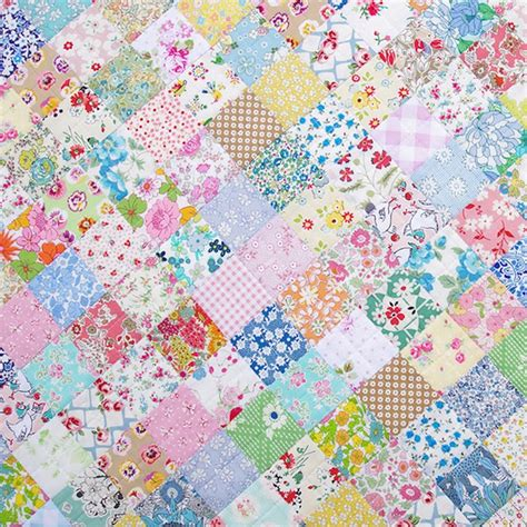 Patchwork Print Fabric - dollhouse miniature blue pink vintage patchwork quilt