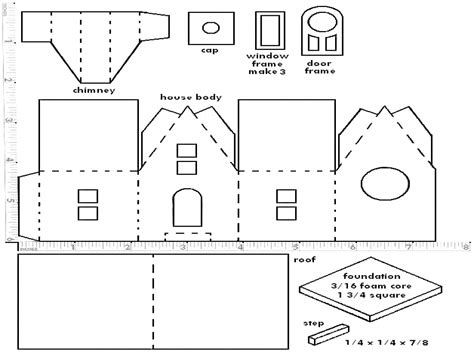 pattern of house printable miniature putz or glitter christmas houses