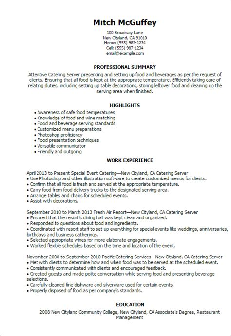 Serving Resume by Professional Catering Server Templates To Showcase Your