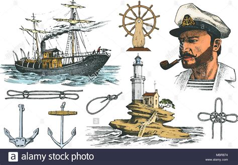boatswain in ship boatswain with pipe lighthouse and sea captain marine