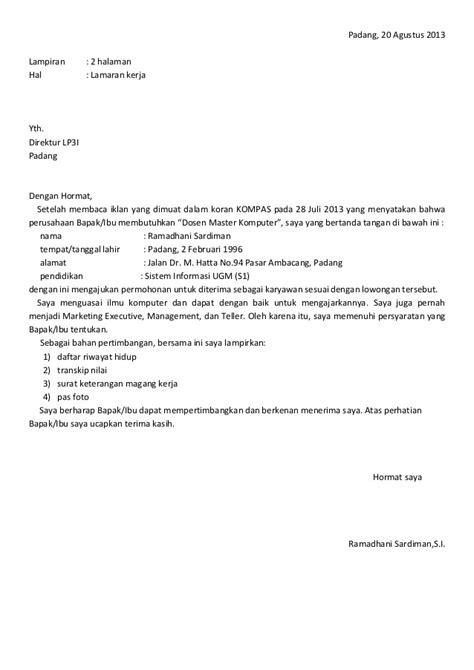 contoh surat lamaran kerja s1 manajemen 28 images surat lamaran cv