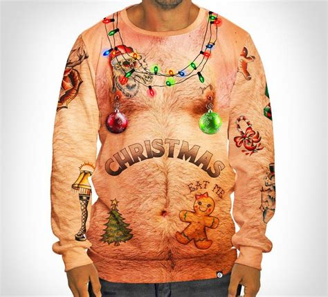 tattoo xmas shirt hairy chest and tattoos ugly christmas sweater