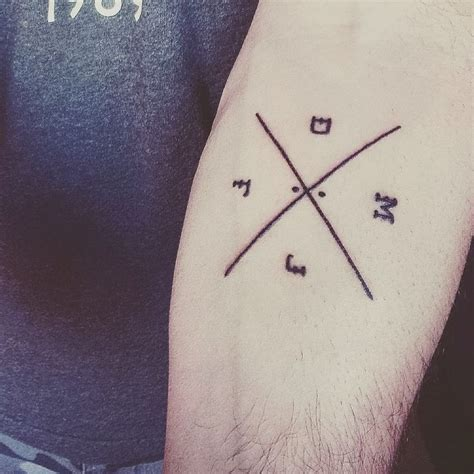 compass tattoo with family initials meaning new ink family initials tattoo blackwhite simple
