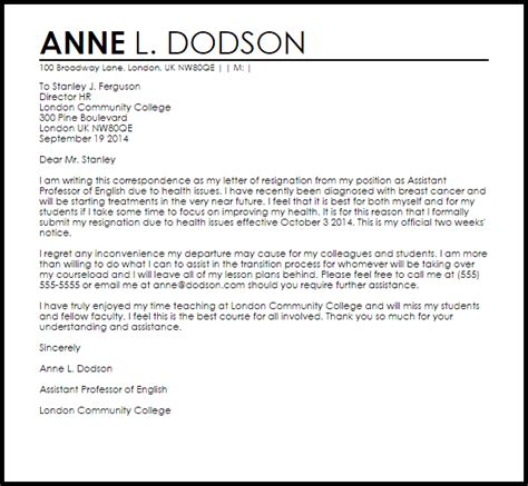 Resignation Letter Due To Graduate School Cover Letter Exles College Resignation Letter Due To Health Resignation Letters Dean