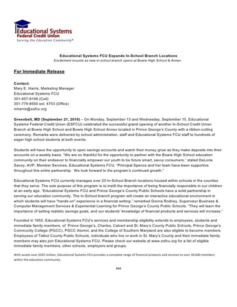 Release Letter From School Bowie High School In School Opening Press Release