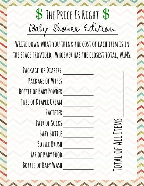 free printable price is right baby shower template baby shower price is right frugal fanatic