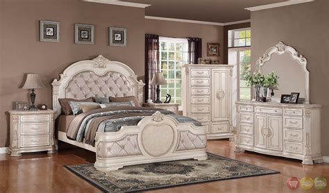 unity antique traditional distressed antique white upholstered bedroom set  stone tops rpcmo