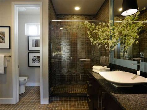 small master bathroom remodel ideas with dark ceramic tile