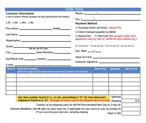 Order Form Template 19 Download Free Documents In Pdf Word Excel Printing Order Form Template