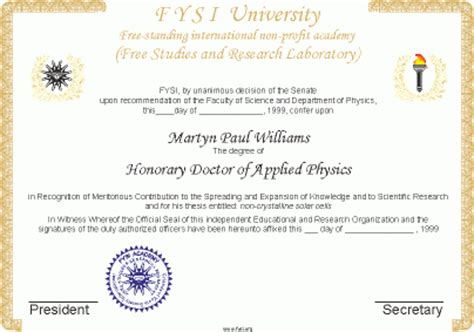 Of Mba Graduate Gets Honorary Degree by Fysi Free Standing Academy Honorary Doctorates