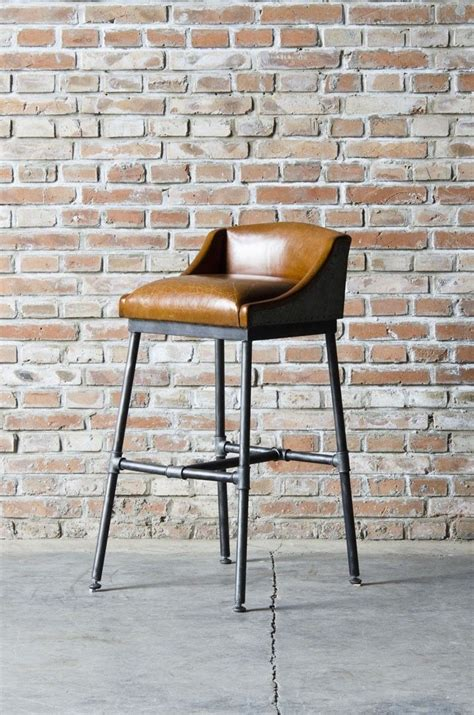 low bar stool chairs bar stool with upholstered leather low camel back seat