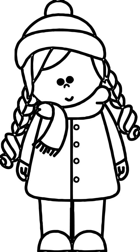 cold weather girl kids coloring page wecoloringpage