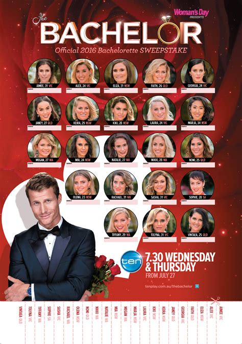 Sweepstakes Australia - the 2016 bachelor sweepstakes now to love