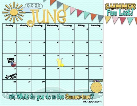 printable calendar 2016 summer summertime activities and free planning calendars inkhappi